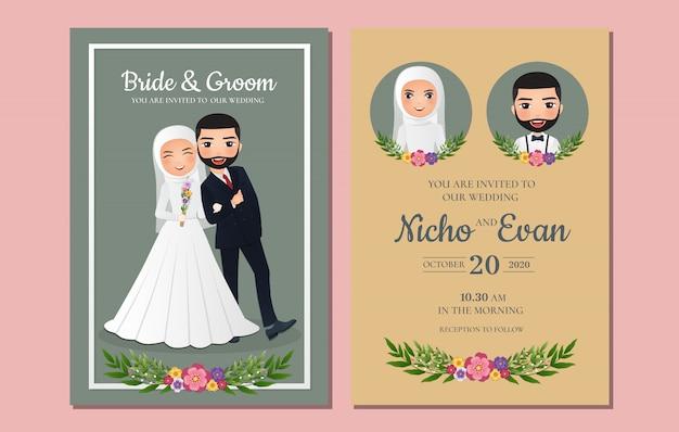 Nette muslimische braut und bräutigam. hochzeitseinladungskarte.