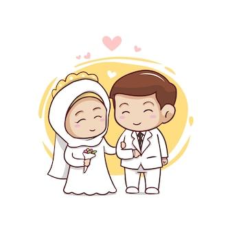 Nette muslimische paarkarikaturcharakterillustration