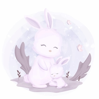 Nette mutter und baby-kaninchen