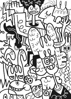 Nette mutters spaßgesellschaft, illustration, nette handgezeichnete kritzeleien,