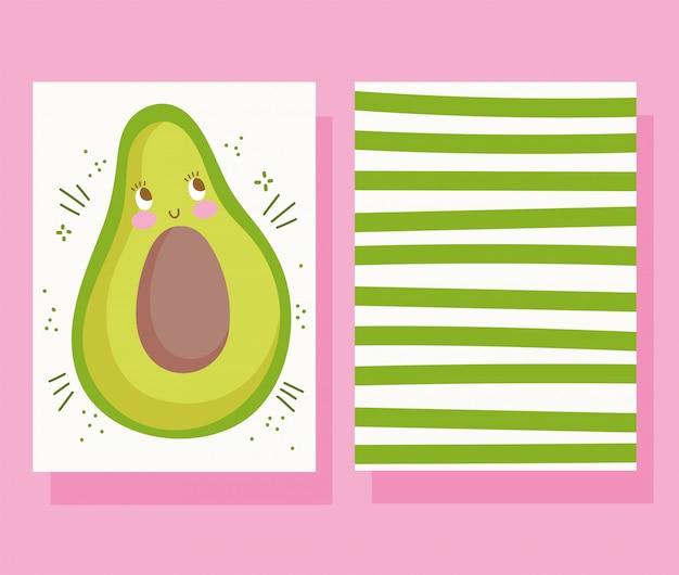 Nette nahrungsmittelernährungskarikaturcharakter avocado-banner gestreifte dekoration vektorillustration