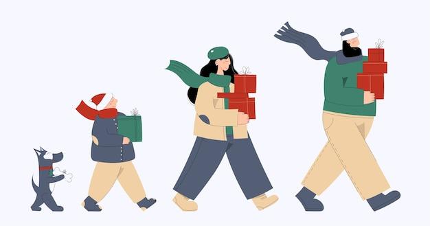 Nette neujahrs- und weihnachtsfamilienhand gezeichnete illustration