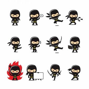 Nette ninja im aktions-vektor-cartoon