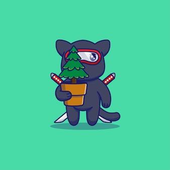 Nette ninja-katze, die eine pflanze trägt