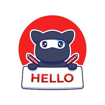 Nette ninja-katze, die hallo-karte trägt