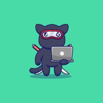 Nette ninja-katze, die laptop trägt