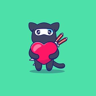 Nette ninja-katze, die liebesballon umarmt