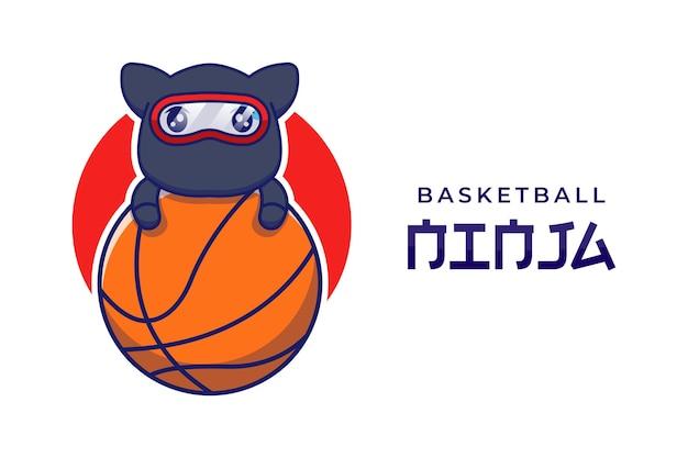 Nette ninja-katze mit basketball-logo