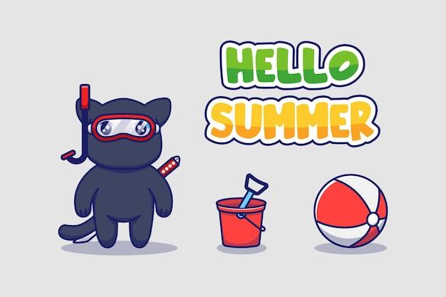 Nette ninja-katze mit hallo sommergrußbanner