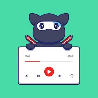 Nette ninja-katze mit musik-player-anwendung