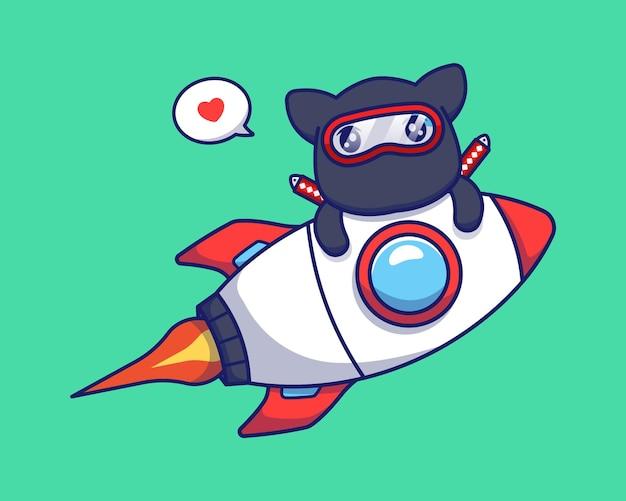 Nette ninja-katze mit rakete