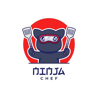 Nette ninja-katze mit spatel-logo