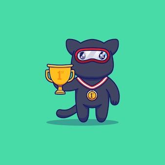Nette ninja-katze mit trophäe und medaille