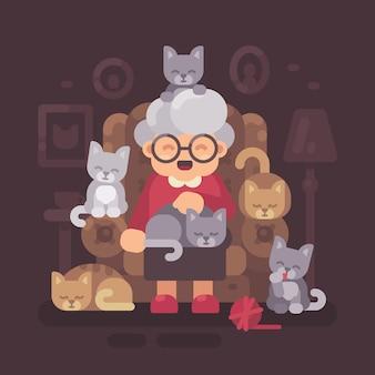 Nette oma, die im lehnsessel mit ihren katzen sitzt. alte katzendame mit flacher illustration der fünf kätzchen