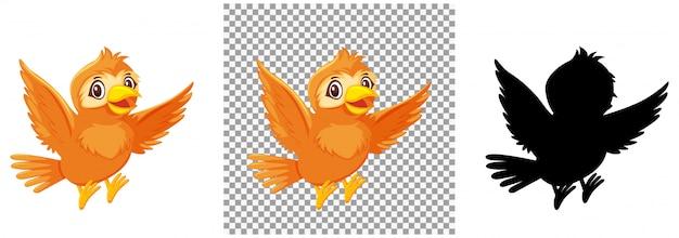 Nette orange vogelkarikaturfigur