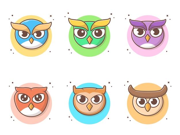 Nette owl cartoon collections-vektor-ikonen-illustration