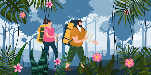 Nette paare der touristen mit der karte und rucksäcken, die touristische tätigkeit im freien durchführen. waldbäume berglandschaft. abenteuerreise, wandern der flachen karikatur des wanderreisetourismus-wilden naturtrekkings