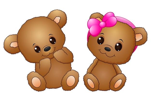 Nette paare mit einem teddybären, der einen rosa bogen trägt