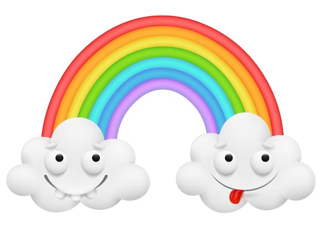 Nette paarwolkenzeichentrickfilm-figur und ein regenbogen. freundschaftskonzept.
