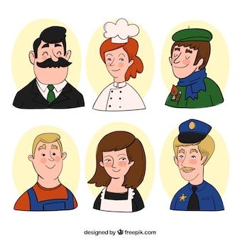 Nette packung hand gezeichnete avatare