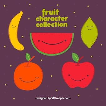 Nette packung von fröhlichen fruchtfiguren
