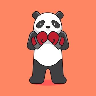 Nette panda boxing zeichentrickfigur