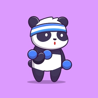 Nette panda gym illustration. tiersport. flacher cartoon-stil