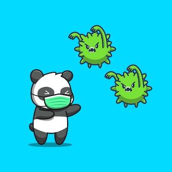 Nette panda tragen maske cartoon icon illustration. tier maskottchen charakter. gesundheitstier-symbol-konzept isoliert