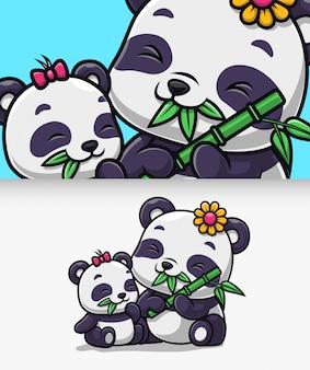 Nette pandafamilie essen bambusikonenillustration. panda maskottchen zeichentrickfigur.