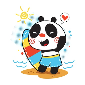 Nette pandakarikaturillustration mit brandungsbrett im strand