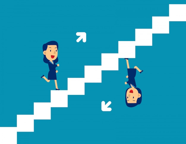 Nette person, die auf und ab treppe läuft