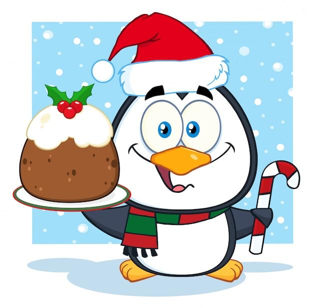 Nette pinguin-zeichentrickfilm-figur, die weihnachtspudding und zuckerstange auf dem schnee hält
