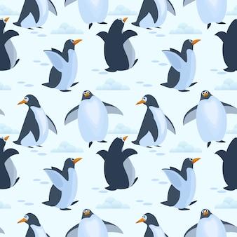 Nette pinguine auf nahtlosem musterhintergrund des eises.