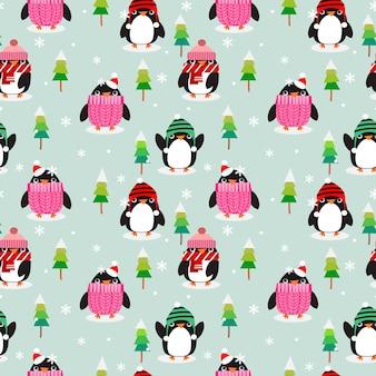 Nette pinguine in der weihnachtsjahreszeit.