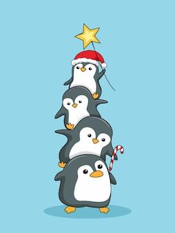 Nette pinguine stapeln frohe weihnachten