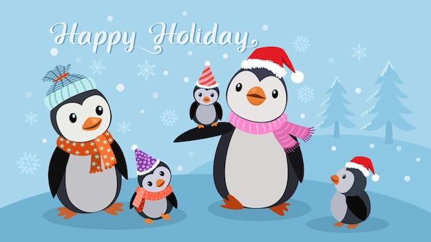 Nette pinguinfamilie im winter mit glücklichem feiertag des textes. weihnachtskonzept.