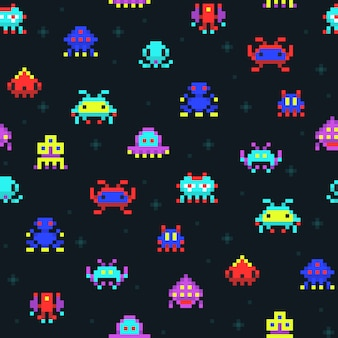 Nette pixelroboter, nahtloses vektormuster des retro- videocomputerspiels der raumeindringlinge. pixelmonster gefärbt im raum, pixelated illustration der komischen karikatur säulengang