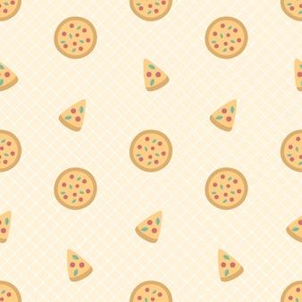 Nette pizza und nahtloses muster in scheiben