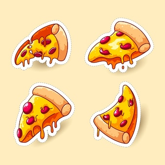 Nette pizzaaufkleber und aufnäher