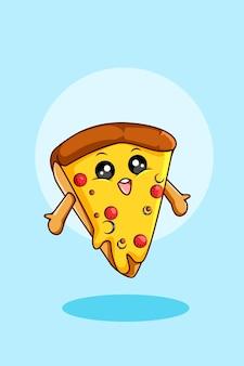 Nette pizzaikonenkarikaturillustration