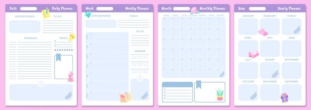 Nette planervorlagen. tages-, wochen-, monats- und jahresplaner. planen sie das seitenjournal, den monatlichen briefpapierkalender, das organizer-tagebuch. vektor-illustration