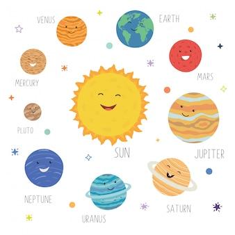 Nette planeten mit lustigen lächelnden gesichtern