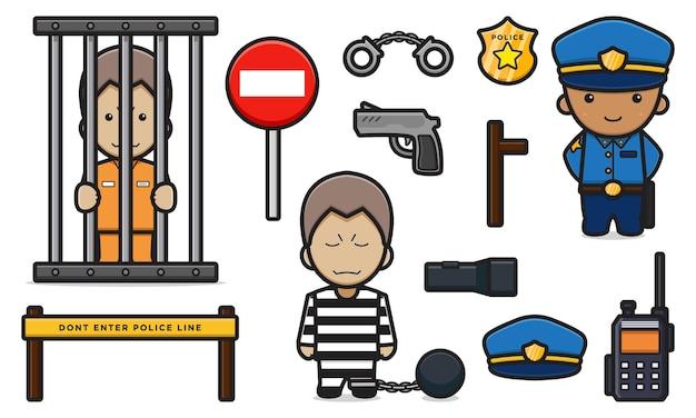 Nette polizei und gefangener mit objektausrüstung stellten karikaturvektorikonenillustration ein. polizei und kriminelles symbol konzept isoliert vektor. flacher cartoon-stil
