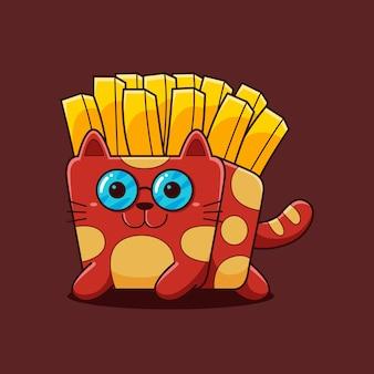 Nette pommes-frites-katzenillustration mit flachem karikaturstil.