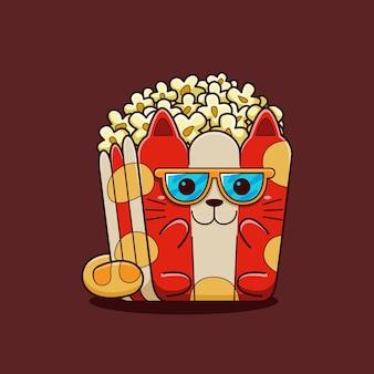 Nette popcornkatzenillustration mit flachem karikaturstil.