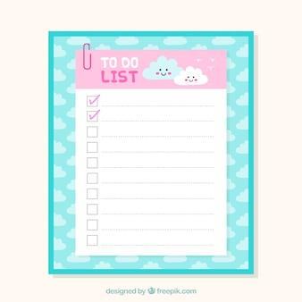 Nette prüfliste vorlage mit wolken im flachen design