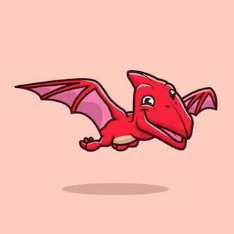 Nette pterodactyl flying cartoon icon illustration. tier-dinosaurier-symbol-konzept isoliert. flacher cartoon-stil