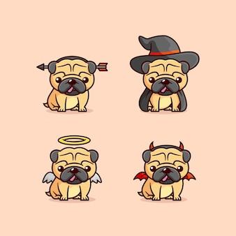 Nette pug-welpen, die verschiedenes halloween-kostüm tragen