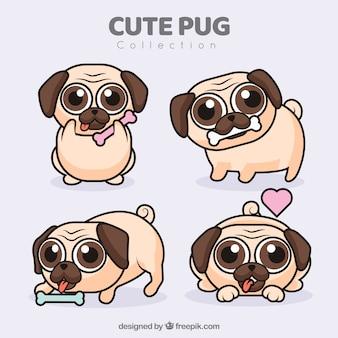 Nette pugs mit flachem design