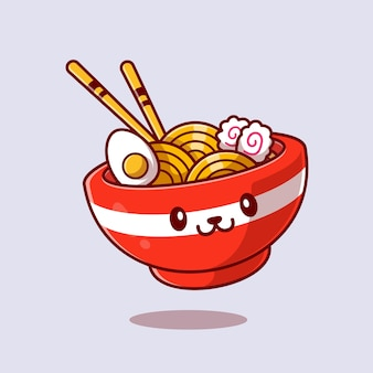 Nette ramen nudel cartoon icon illustration.
